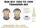 BSA B31 1954 to 1959 Transfer Decal Set